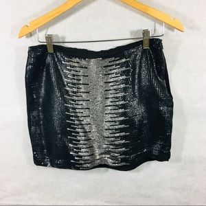 Sequined T los Angles large mini skirt silk